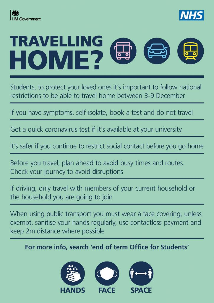 Poster with travel advice for students for end of term during coronavirus