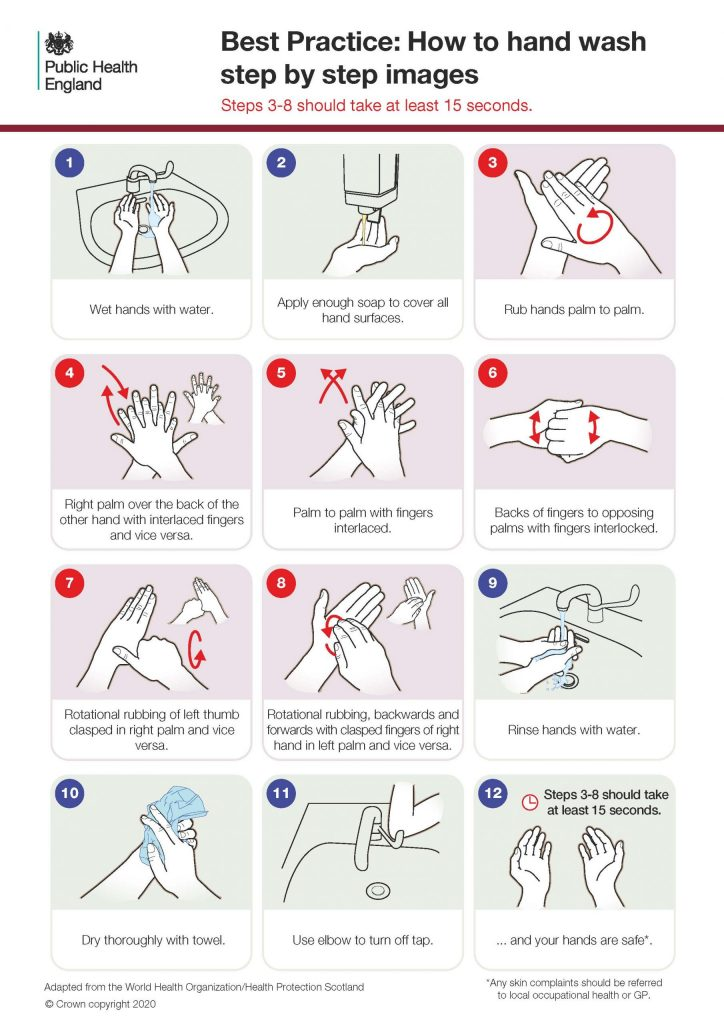 Poster on how to wash hands by Public Health England